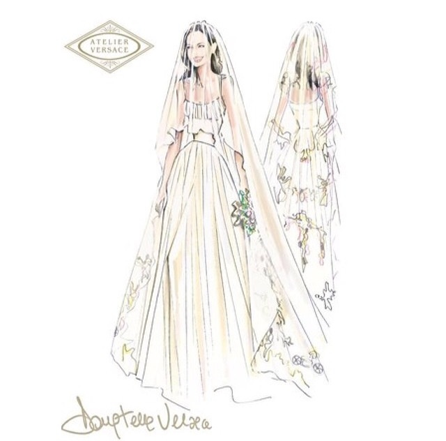 Croqui - Angelina's wedding dress | Versace
